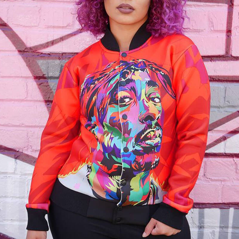 Lovely Casual Portrait Printed  Red Knitting Jacket