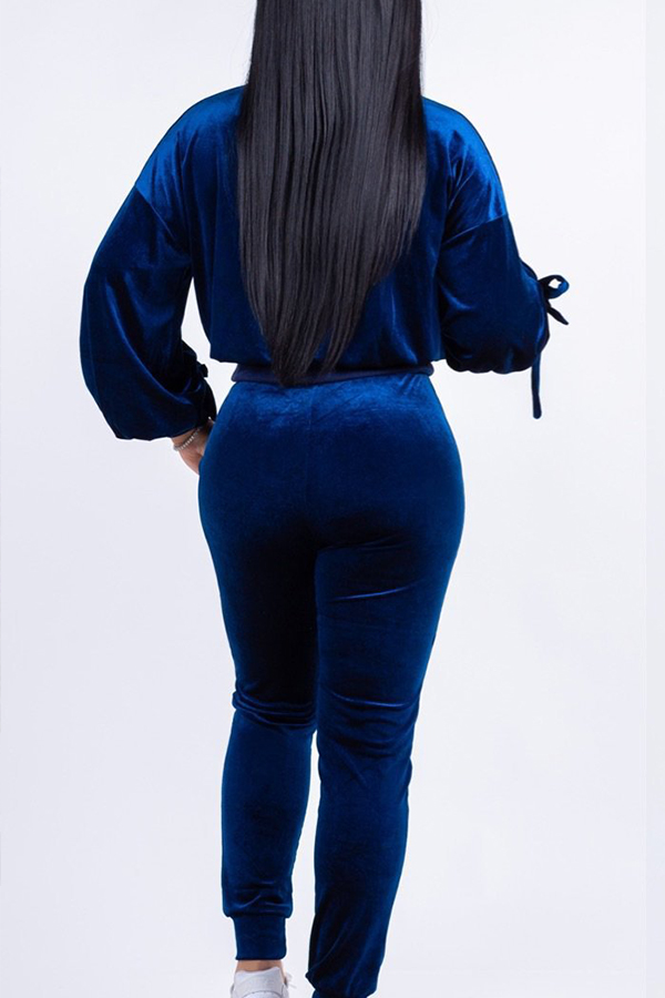 Lovely Casual Lace-up Blue Velvet Two-piece Pants Set