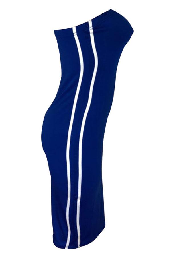 Lovely Sexy Bateau Neck Striped Blue Milk Fiber Sheath Mid Calf Dress