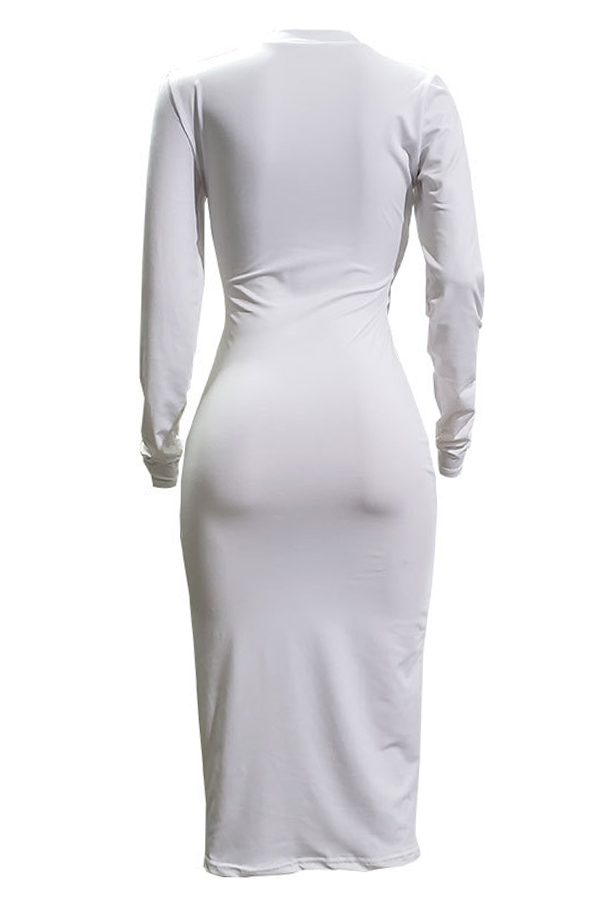 Lovely Casual Broken Holes White Twilled Satin Knee Length Dress