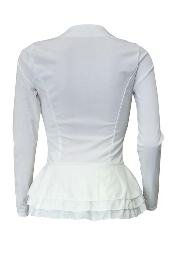 Lovely Euramerican Flounce Design White Knitting Blouses