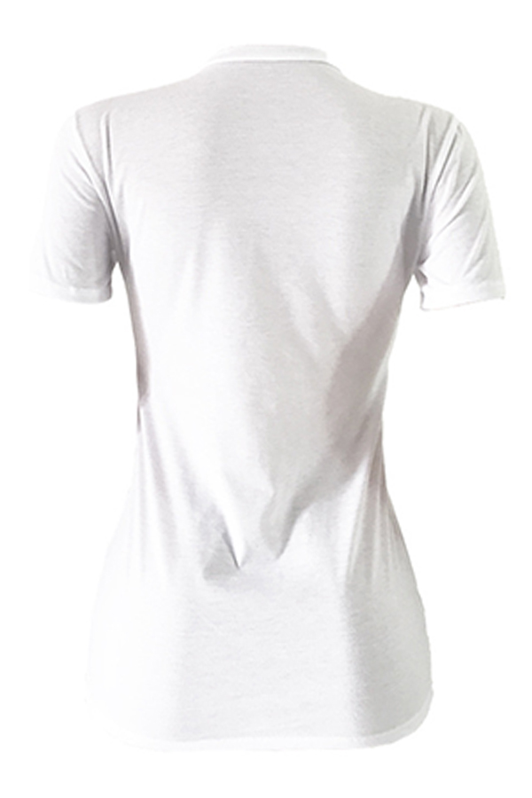 Lovely Casual Round Neck Letter Printed White Cotton Blends T-shirt