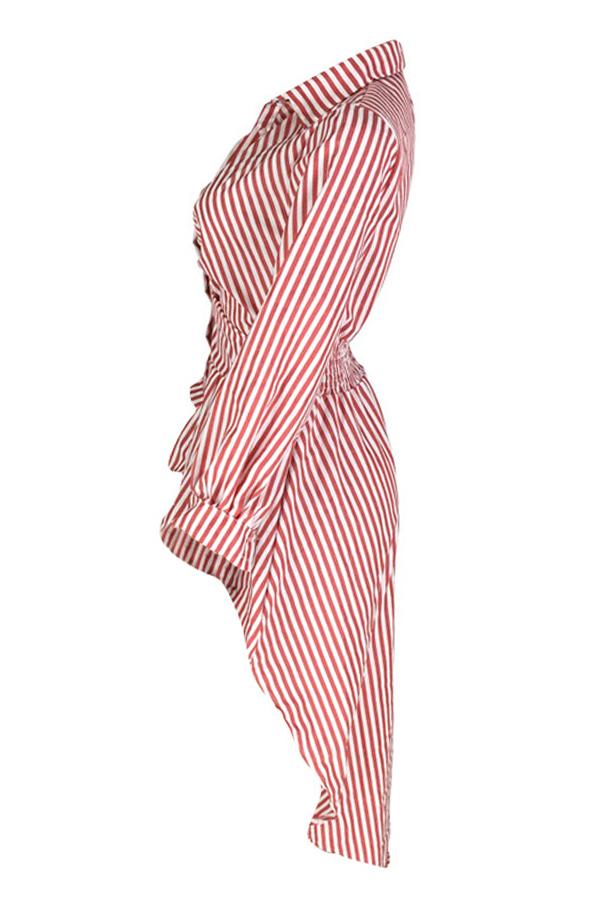 Blusas De Algodón A Rayas Rojas De Dobladillo Irregular Casual Encantador