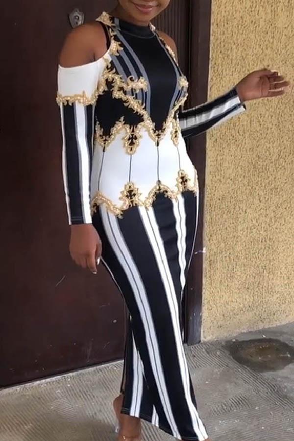 Lovely Euramerican Printed Slim Black Ankle Length Dress