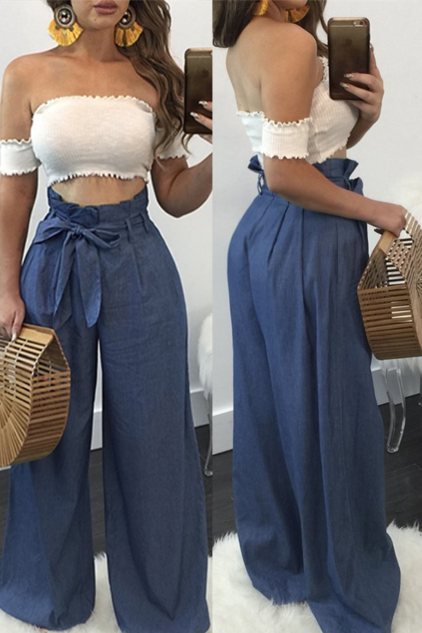 Lovely Stylish High Waist Light Blue Cotton Pants(With Belt)