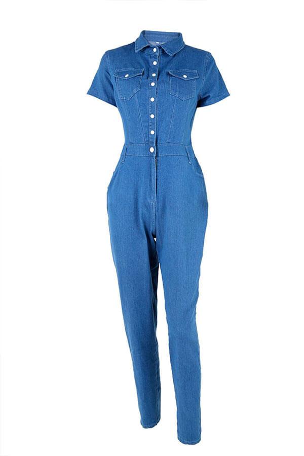 Lovely Fashion Turndown Collar Buttons Blue Denim One-piece Jumpsuit