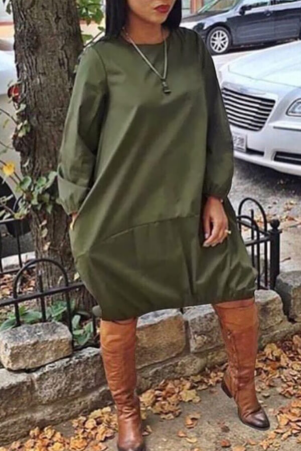Lovely Euramerican Long Sleeves Loose Army Green Knee Length Dress