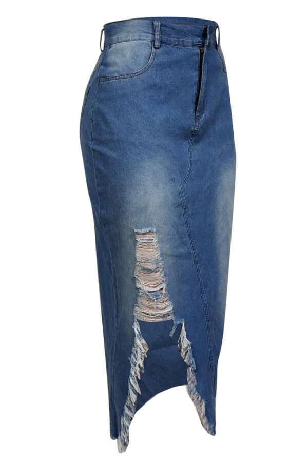 Encantadores Agujeros Rotos Casuales Faldas De Mezclilla Azul Mediados De Pantorrillas