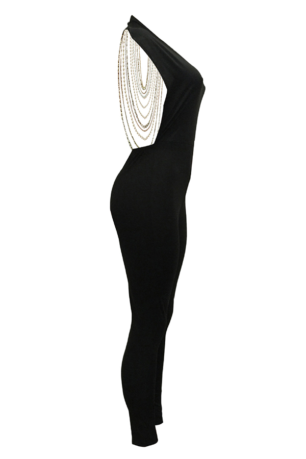 Lovely Sexy Round Neck Backless Chain Of Pearls Decoration Black Terylene+Cotton One-piece Jumpsuits