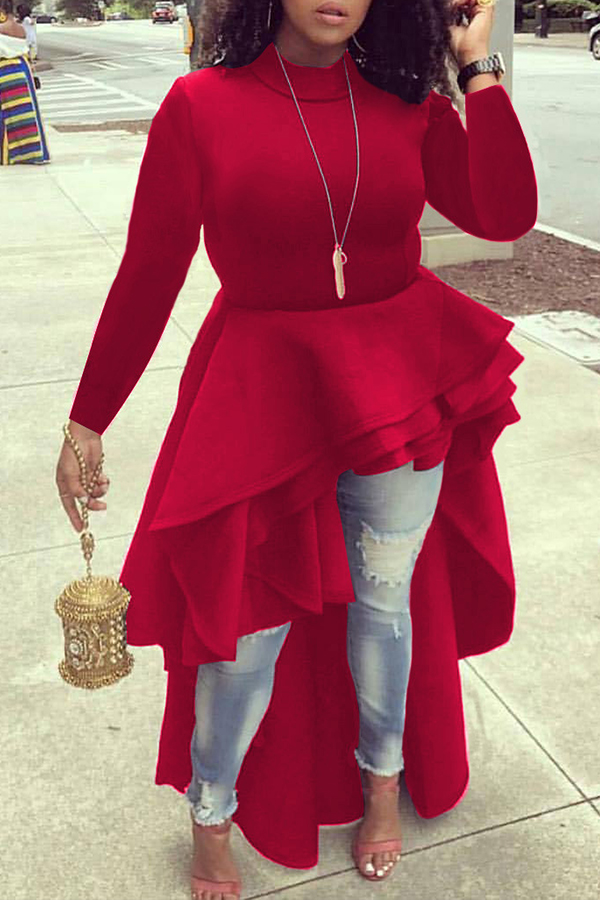 Encantadoras Blusas Rojas Asimétricas Euramerican