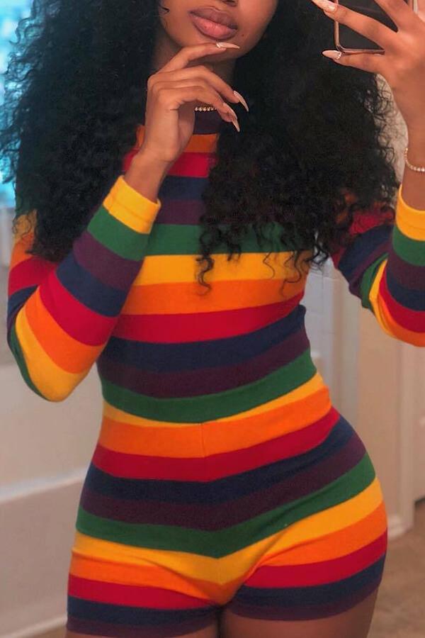 Lovely Euramerican Striped Multicolor Blending One-piece Romper