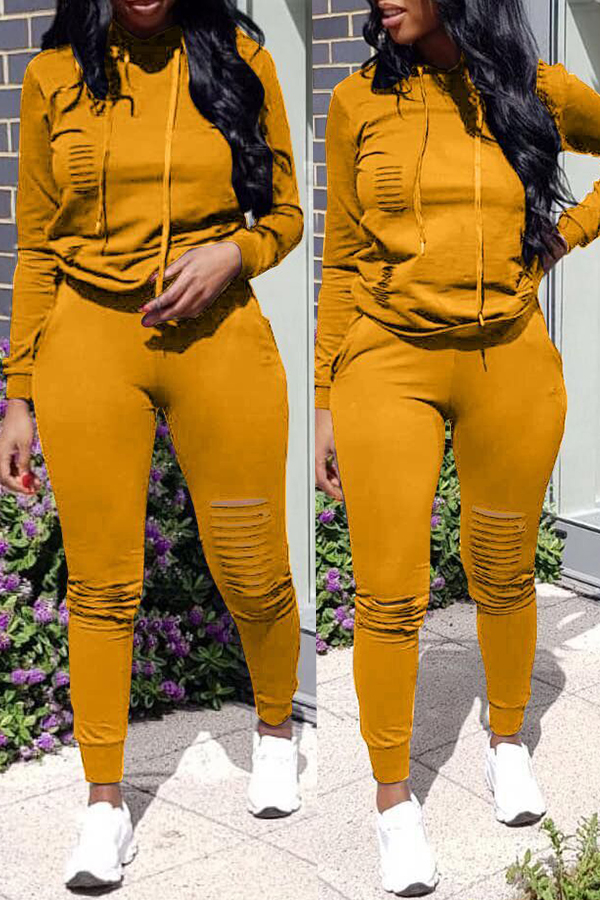 Lovely Casual Hooded Collar Broken Holes Earthy Yellow  Blending Two-piece Pants Set