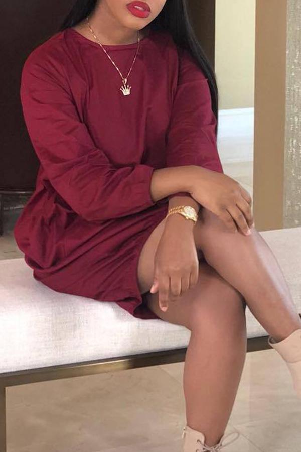 Lovely Euramerican Long Sleeves Loose Wine Red Knee Length Dress