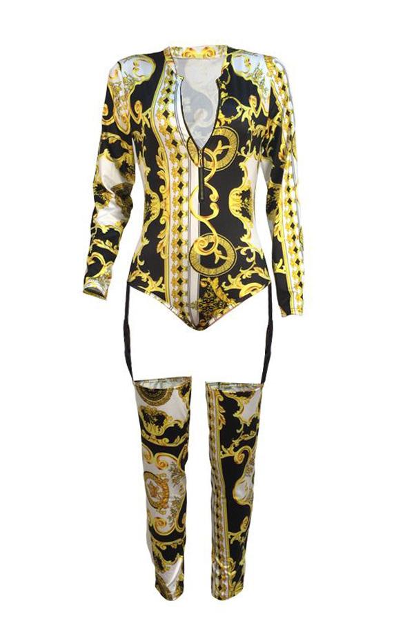 Lovely Qmilch Sexy Print Regular zipper Jumpsuit