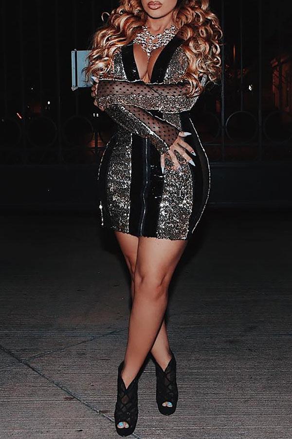 Lovely Euramerican Patchwork Black Blending Mini Dress