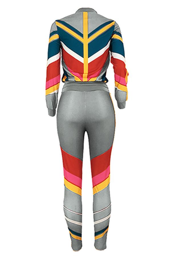 Precioso Conjunto De Pantalones De Dos Piezas De Patchwork De Ropa Deportiva Gris