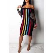 Lovely African Striped  Dew Shoulder Multicolor Knitting Knee Length Dress