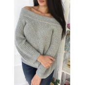 Lovely Sweet Dew Shoulder Long Sleeves Grey Cotton