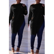 Lovely  Casual  Irregular Hems  Long Sleeves Black