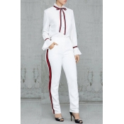Lovely Sweet Long Sleeves Patchwork White Blending Two-piece Pants Set