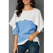Lovely Casual Color-lump Patchwork Blue Knitting T