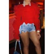 Camiseta Dulce Con Un Encantador Diseño De Volantes En Rojo