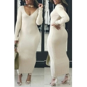 Lovely Casual Long Sleeves Slim Beige Cotton Ankle Length Dress