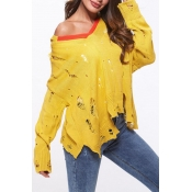 Lovely Fashion Hollowed-out Yellow Knitting Sweate