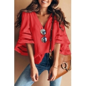 Lovely Sweet Flare Sleeves Red Cotton Blouses