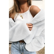 Lovely Casual Long Sleeves  White Coat