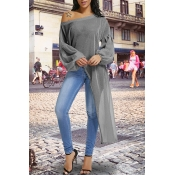 Lovely Casual Lantern Sleeves Irregular Hems Grey