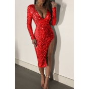 Lovely Sexy Side High Slit Red Sequined Knee Lengt