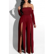 Lovely Casual Side High Slit Wine Red Knitting One-piece Jumpsuit