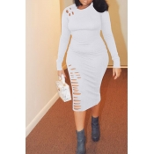 Lovely Casual Broken Holes White Twilled Satin Knee Length Dress