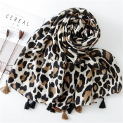 Lovely Casual Leopard Printed  Cotton Scarves
