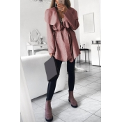 Lovely Euramerican Turn-down Collar Pink Trench Co