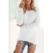 Lovely Euramerican Winter Long Sleeves White Blend