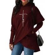 Lovely Trendy Asymmetrical Purplish Red Cotton Hoo