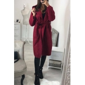 Lovely Trendy Long Sleeves Lace-up Wine Red Trench