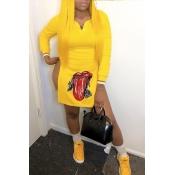 Lovely Trendy Printed Side High Slit Yellow Blendi