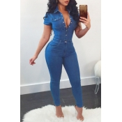 Lovely Fashion Turndown Collar Buttons Blue Denim