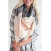 Lovely Casual Color-lump Pink Blended  Scarves