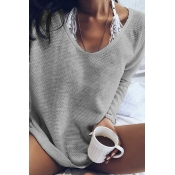 Lovely Euramerican Long Sleeves Grey Acrylic Sweat