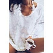 Lovely Euramerican Long Sleeves White Acrylic Swea