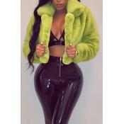 Lovely Euramerican Long Sleeves Green Cotton Coat