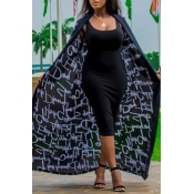 Lovely Casual Long Sleeves Black Twilled Satin Coa