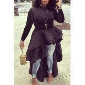 Encantadoras Blusas Negras Asimétricas Euramerican