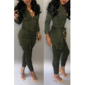 Lovely Chic Pockets Skinny Green One-piece Jumpsui