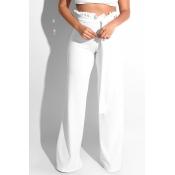 Lovely Trendy Ruffle Design Loose White Knitting P
