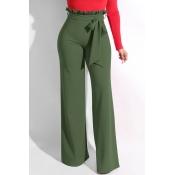 Lovely Trendy Ruffle Design Loose Army Green Knitt